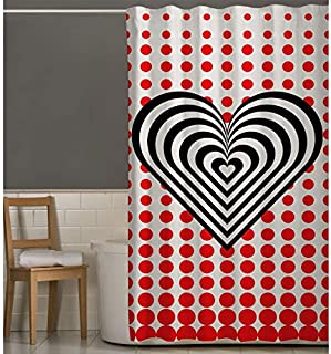 Right Canvas Red/White/Black 180cm x 200cm Shower Curtain - RG138NPAB00050