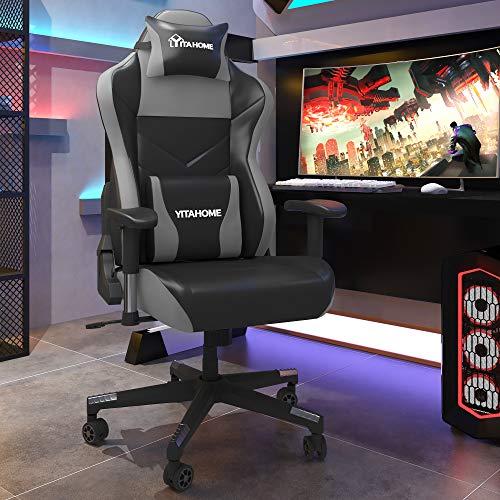 YITAHOME Gaming Stuhl Bürostuhl Racing Stuhl, Ergonomischer Schreibtischstuhl mit hoher Rückenlehne, Einstellbare Armlehne, PU-Leder mit Massage Lendenwirbelstütze, Schwarz-Grau