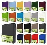leevitex Jersey Spannbettlaken, Spannbetttuch 100% Baumwolle in vielen Größen und Farben MARKENQUALITÄT ÖKOTEX Standard 100 | 120x200 cm - Anthrazit Grau
