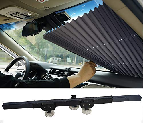 Retractable Windshield Sun Shade, Windshield Sun Shade for Car, Easy to Install and Use, Universal Car Sun Shades Keep Your Vehicle Cool