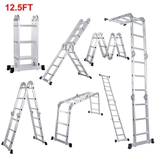 Lifewit 12.5ft Folding Ladder Aluminum Extension 7 in 1 Multi Purpose Extendable Platform Scaffold Heavy Duty