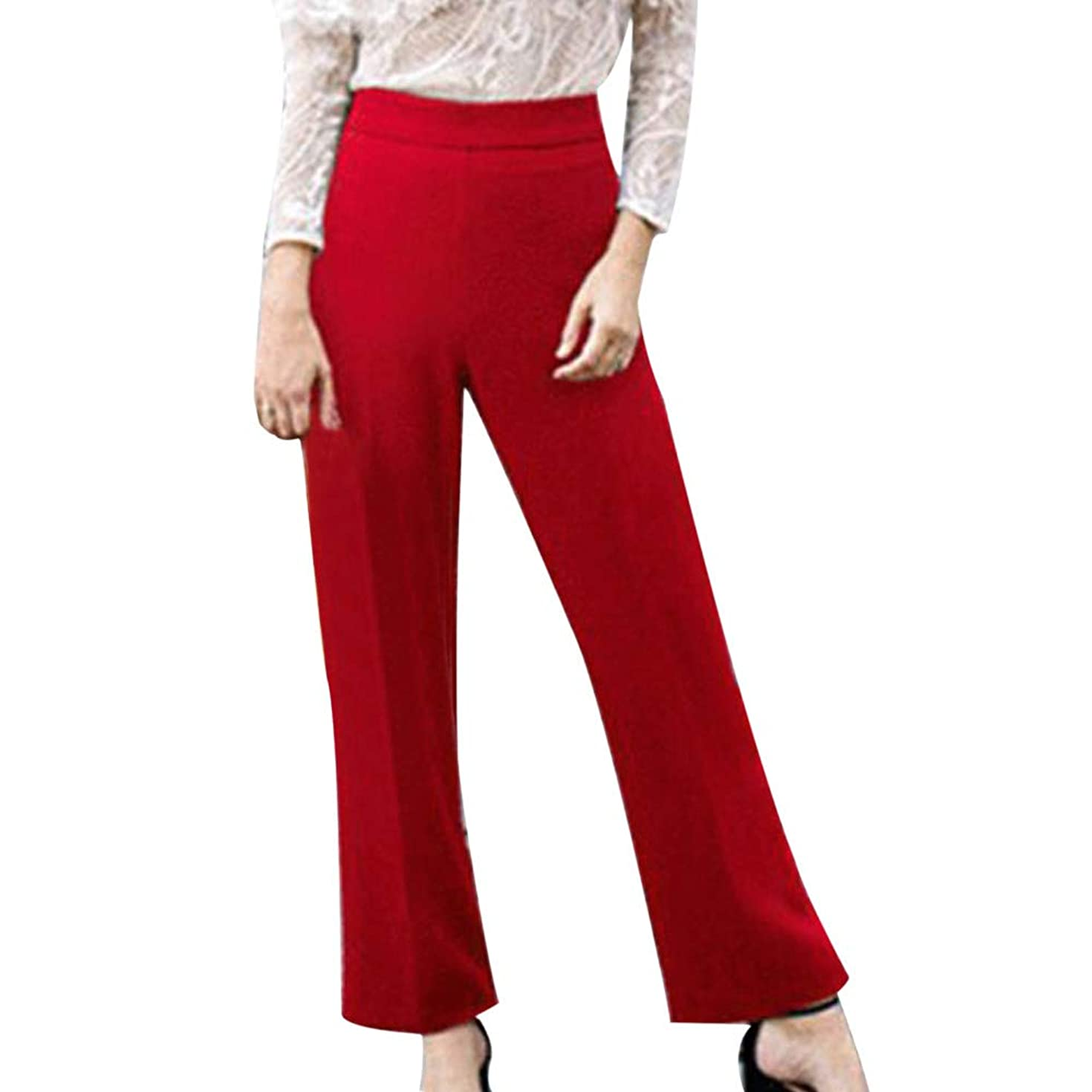 Ladies Trousers,Yihaojia Plus Size Womens Solid Mid-Waist Loose Straight Fashion Casual Long Pants