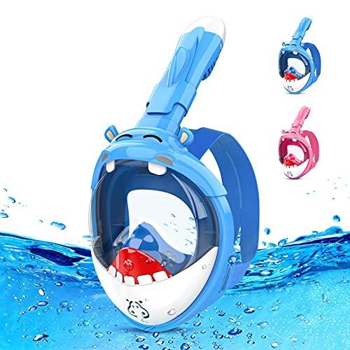 Maschera Subacquea,Maschera Snorkeling Bambini con Visuale Panoramica 180° Design Pieno Facciale Anti-Appannamento e Anti-Infiltrazioni, Innovativo Sistema di Respirazione Integrato Bambini con Nuoto