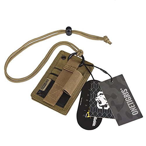 OneTigris Tactical ID Card Holder Hook & Loop Patch Badge Holder Neck Lanyard Key Ring and Credit Card Organizer (Coyote Brown)