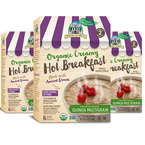 Bakery On Main Gluten-Free, Organic Creamy Hot Breakfast, Quinoa Multigrain, 6 Count Box (Pack of 3)