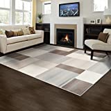 SUPERIOR Clifton Mid-Century Modern Geometric Polypropylene Indoor Area Rug or Runner with Jute Backing, 8' X 10', Multi-Colored