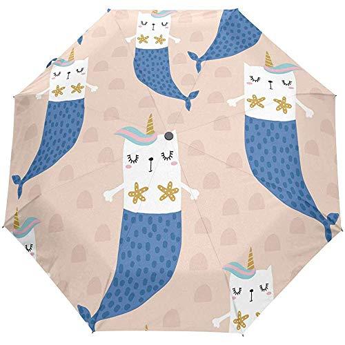 Cute Cat Mermaid Ocean Sea Animal Cartoon Auto Open Umbrella Zonneregenparaplu Anti-UV Opvouwbaar automatische paraplu