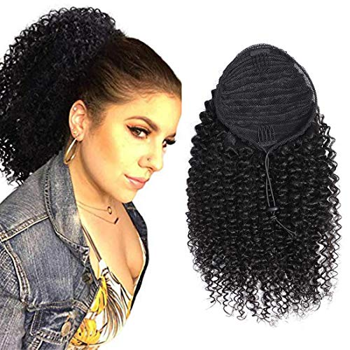 """RACILY Curly Human Hair Ponytail with Wrap Drawstring 3C Remy Brazilian Virgin Hair Natural Color Afro Kinky Curly Hair Piece Clip-in Extensions (22"""", Curly)"""