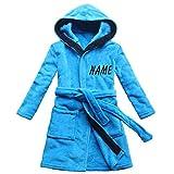 FEETOO [Nom brodé] Robe de Bain pour Enfants Bleu Velours de Corail Chemise de Nuit...