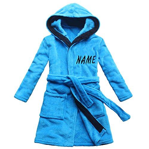 FEETOO [Nom brodé] Robe de Bain pour Enfants Bleu Velours de Corail Chemise de Nuit garçon Chaud (14, Bleu)