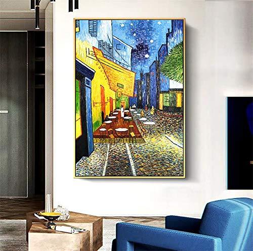 Berühmte Van Gogh Cafe Terrasse Leinwand Wandkunst PrintWall Art Bild Wohnzimmer Home Decor-Rahmenloses Gemälde70x90cm