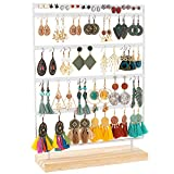 Earring Stand Holder Ear Stud Diaplay Rack Jewelry Holder Organizer Jewelry Tree 5 Tier 100 Holes with Wooden Base for Earring, Ear Stud, Necklace, Bracelets, Woman Girls Gfit(white)