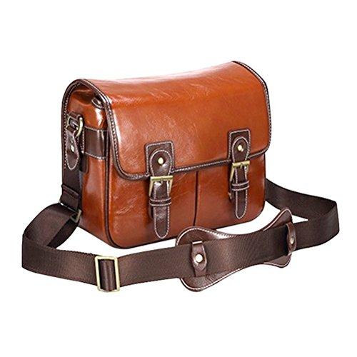 LEDMOMO - Bolsa de cuero para cámara réflex digital, PU resistente al agua vintage de moda bandolera para cámara réflex digital - tamaño L (rojo marrón)