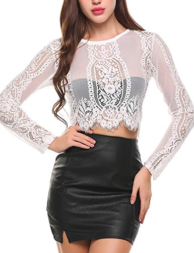 SoTeer Women's Short Sleeve Round Neck Sexy Sheer Blouse Mesh See Through Lace Crop Top (White XL)