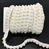 FQTANJU 5 Yards Faux Pearls Lace Ribbon Applique Pearl Fringe for Wedding Party Decoration, Home Deco, Lamp Shade, Costume, Lvory.