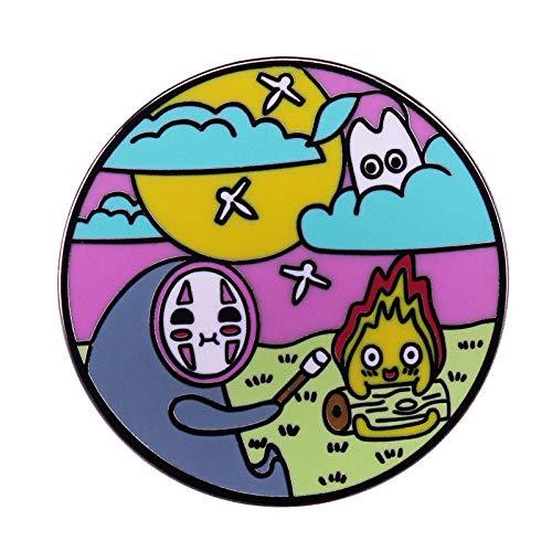 Sin rostro Calcifer pin lindo brillante mash-up Ghibli anime fans rega