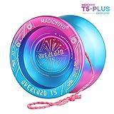 YOSTAR Yoyo Profesional MAGICYOYO T5 Plus Overlord Bola de yoyo no responde, Hecho de aleación de Aluminio, Estable y Duradero, con 5 Piezas de Cuerdas, Bolsa, Guante (Azul Rosado)