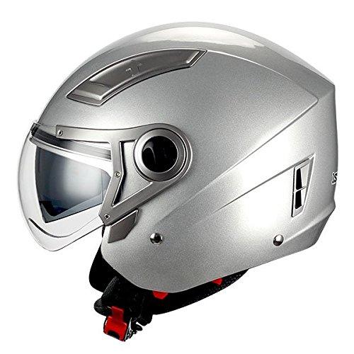 1STORM MOTORCYCLE OPEN FACE HELMET SCOOTER BIKE DUAL LENS/SUN VISOR GLOSSY SILVER