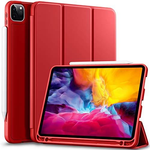 Vobafe Funda Compatible con iPad Pro 11 2020 y 2018, Funda Protectora de TPU con Portalápices para iPad Pro de 11 Pulgadas 2020, Compatible con Segunda Generación Pencil, Protección Completa, Rojo