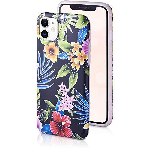QULT Fiori Style Custodia Compatibile con iPhone 11 PRO Bumper Nero Opaco Slim Design Case iPhone 11 PRO siliconee Bumper con Motivo I Fiori della Notte