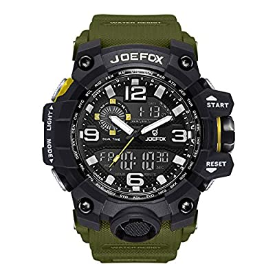 Digital Men Wrist Watch, Military Tactical Waterproof Analog Quartz Watches for Men, Large Face Dual Display 56 cm Large Face LED Watch, Sports Watches for Surf and Skate (Green)
