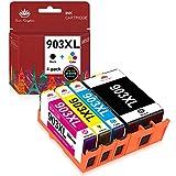 Toner Kingdom Chip de Actualización 903XL Cartuchos de Tinta Compatible para HP 903XL 903 para Impresoras HP Officejet Pro 6950 6960 6970 (1 Negro/1 Cian/1 Magenta/1 Amarillo, Paquete de 4)