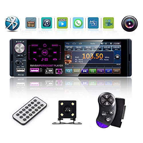 Multimedia Car Stereo- Single Din,4.1 Inch Touch Screen Car Stereo Bluetooth Audio and Hands-Free Calling,Rear Microphone Input,MP5 Player, AUX Input, Rear View Camera,AM/FM/RDS Radio Receiver