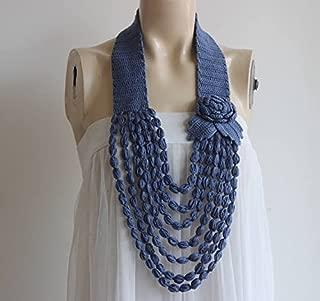 handmade Denim Blue Crochet Necklace- Flower Necklace Scarf- Jewelry Scarf Loop Scarf -Crochet Infinity