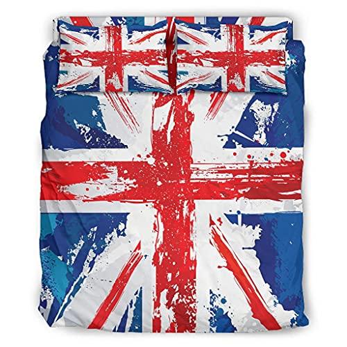 Wandlovers Juego de ropa de cama de 4 piezas, diseño de Grunge Inglaterra con la bandera de Reino Unido, ligera, funda de edredón y fundas de almohada, 175 x 218 cm, color blanco