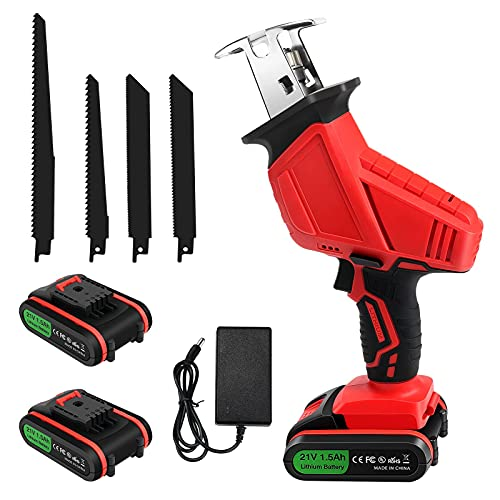 Reciprocating Saw 21V Cordless Saw with 2 Batteries, Fast Charger, Variable Speed Electric Saw, 4 PCS Saw Blades for Wood and Metal Cutting