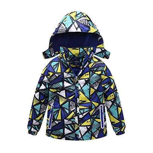 Gogokids - Giacca da sci per bambini – impermeabile per ragazzi e ragazze, calda giacca da neve foderata in pile, impermeabile e termica, con cappuccio staccabile, 140 cm