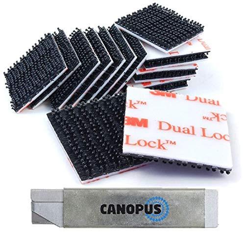CANOPUS - 16 PZ (50mmx50mm) Impermeabile 3M Dual Lock SJ3550 Extra Forte, High Tech Nastro di Fissaggio Richiudibile, Ideale per interni ed esterni, Fissaggio Telepass, Nero