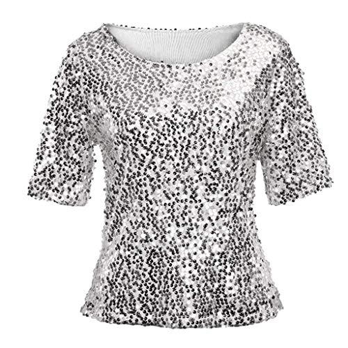 ZJDECR Ms. Mode Pailletten Cocktailjurk Casual Shirt Losse Blouse Negen Punten Casual Shirt Losse T-shirt Grote Garde Stretch Tops