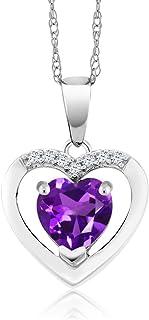 Gem Stone King 10K White Gold Amethyst and Diamond Pendant Necklace For Women (0.70 Ct Purple Gemstone Birthstone Heart Sh...