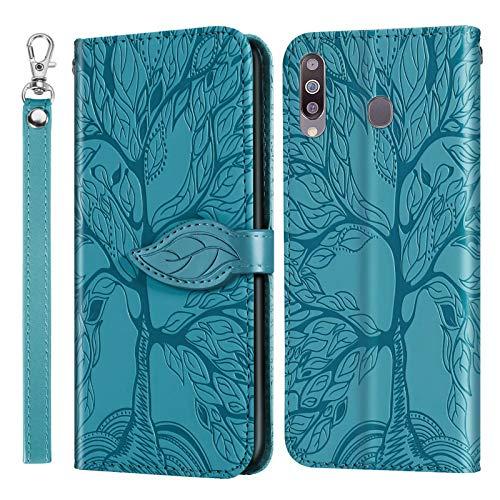 Miagon Prägung Lederhülle für Samsung Galaxy A20S,Handyhülle Tasche Brieftasche Hülle Bookstyle Schutzhülle Flip Case Cover Klapphülle Kartenfächer,Baum Blau