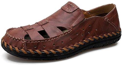 Fuxitoggo Sandales d'été pour Hommes en Cuir Sandales Sandales d'extérieur en Cuir à Bout fermé Chaussures de Trekking Chaussures de Plage de Marche (Couleur  D, Taille  38) (Couleuré   B, Taille   38)  liquidation de la boutique