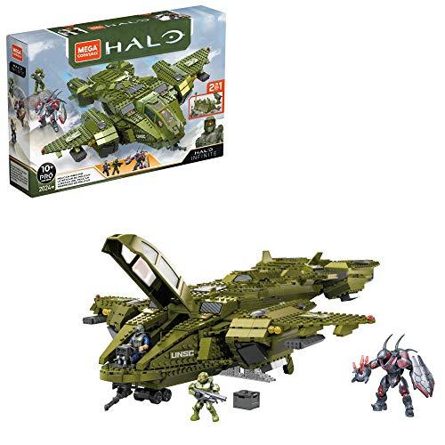 Mega Construx GNB28 - Halo Infinite 2-in-1 UNSC Pelican-Flugschiff Bauset mit 3 Figuren, 2024 Bausteinen, ab 10 Jahren