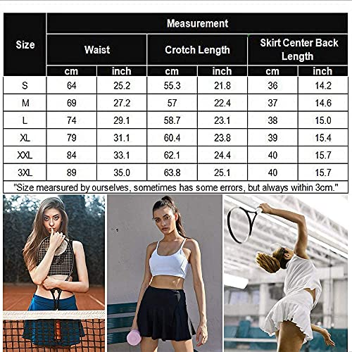 COOrun Falda de tenis para mujer, con pantalones interiores, tallas S-XXL Negro XL