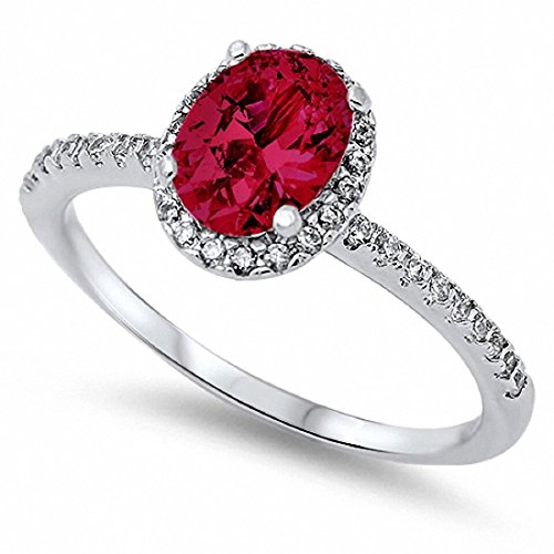 Halo Fashion Ring Simulated Oval Ruby & Round CZ 925 Sterling Silver