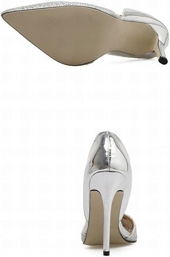 DHG Pointe en Argent Or Fin avec des Chaussures à Talons Hauts Creux Chaussures de Mariage Chaussures Simples Occidentaux,Argent,37