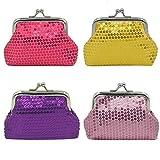 mciskin 4 pezzi mini lustrino portamonete portafoglio da donna borsa portamonete piccolo carino borsa portaoggetti per chiavi, auricolare, rossetto 3.5' L X 2.8' H