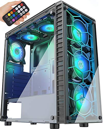 MUSETEX Phantom Black ATX Mid-Tower Case with USB 3.0 and 6 ×120mm ARGB Fans, Tempered Glass Panels Gaming PC Case Computer Chassis(G05MN6-HB)