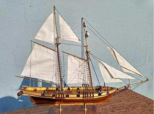 Decoraciones de sala de estar Chem Sailboat Model Scale 1/96 1847 Modelo Kit de barco Kit de navegación de madera Kit de bote de corte con láser Modelos de buque de madera Kits Juguete educativo zhiha