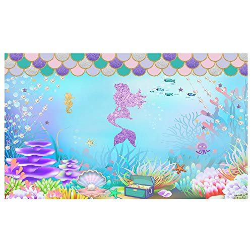 Funnytree 5x3FT Under The Sea Little Mermaid Photography Backdrop for Girl Birthday Party Banner Glitter Scales Background Photobooth Prop