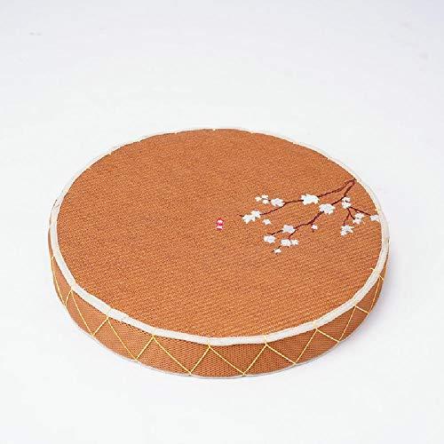 GJHYJK Rund Sitzkissen Rattan Thick Tatami Padded Pouf Hand gesponnene Breath Futon Kissen Meditation Zen Yoga Sitzpolster,Type 1-45cm in Diameter