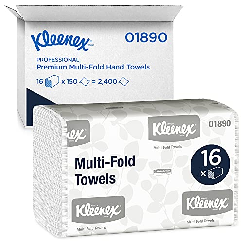 Kleenex Multifold Paper Towels (01890), White, 16 Packs / Case, 150 Tri Fold Paper Towels / Pack,...