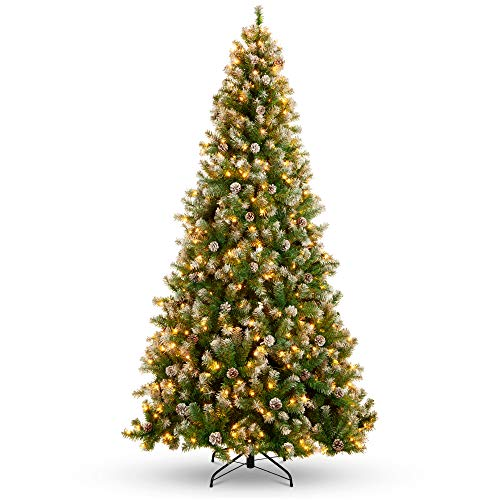 Best Choice Products 6ft Pre-Lit Pre-Decorated Pine Hinged Artificial Christmas Tree w/ 1,000 Flocked Frosted Tips, 59 Pine Cones, 250 Lights, Metal Base