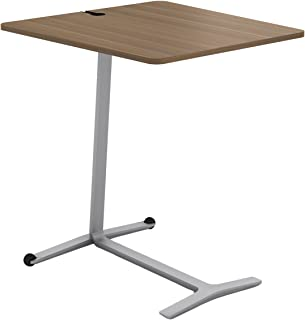Steelcase Campfire Skate Table with Virginia Walnut Finish, Platinum Metallic