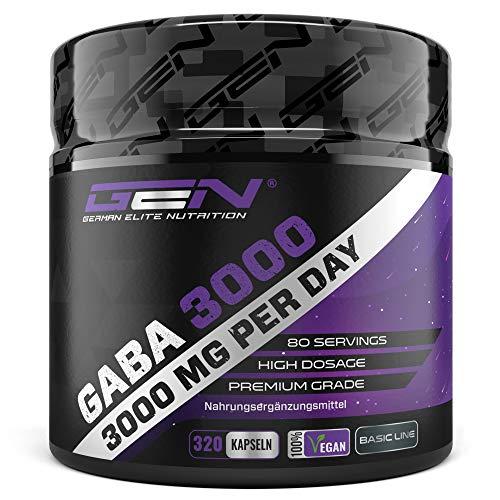 GABA 3000 - 320 Kapseln a 750 mg - Gamma Aminobuttersäure -Hochdosiert mit 3000 mg pro Tagesportion - Aminosäure - Premium Qualität - German Elite Nutrition