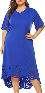 ★ZFK_DRESS Women's Plus Size Casual V-Neck Hollow Out Short Flare Sleeve Midi Dresses